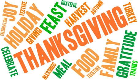 Thanksgiving nuage de mot sur un fond blanc. Banque d'images - 70869629