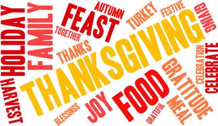 Nuage de mot de Thanksgiving sur fond blanc. Banque d'images - 70904532
