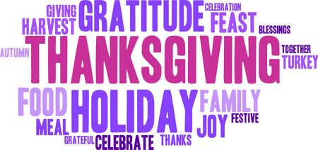 Thanksgiving nuage de mot sur un fond blanc. Banque d'images - 70856325