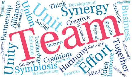 Team word cloud on a white background.