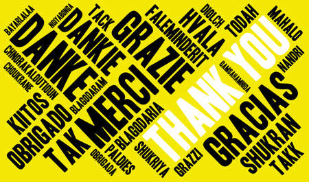 International Thank You word cloud. Each word used in this word cloud is another languages version of the word Thank You. Çizim