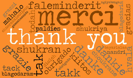 International Thank You word cloud. Each word used in this word cloud is another languages version of the word Thank You. Ilustração