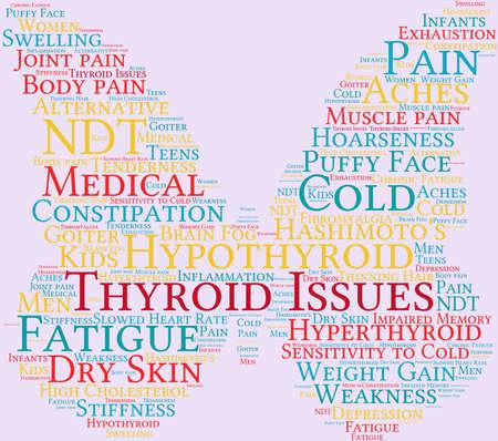 Thyroid word cloud on a mauve background. Illustration