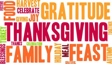 Thanksgiving nuage de mot sur un fond blanc. Banque d'images - 70869649