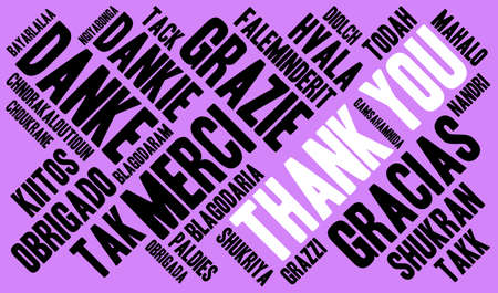International Thank You word cloud. Each word used in this word cloud is another languages version of the word Thank You. Illustration