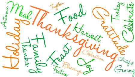 Thanksgiving nuage de mot sur un fond blanc. Banque d'images - 71042749