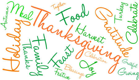 Thanksgiving word cloud on a white background.