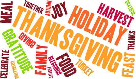 Thanksgiving nuage de mot sur un fond blanc. Banque d'images - 70868816