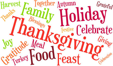 Nuage de mot de Thanksgiving sur fond blanc. Banque d'images - 70938408
