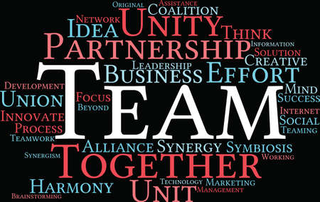 Team word cloud on a black background.