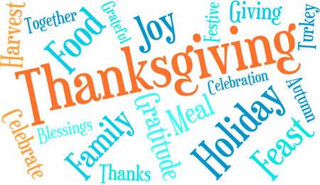 Thanksgiving nuage de mot sur un fond blanc. Banque d'images - 70938434