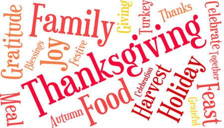 Nuage de mot de Thanksgiving sur fond blanc. Banque d'images - 70869683
