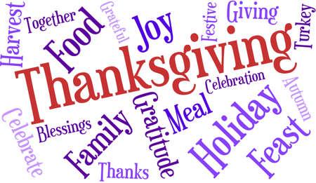 Thanksgiving nuage de mot sur un fond blanc. Banque d'images - 70869691