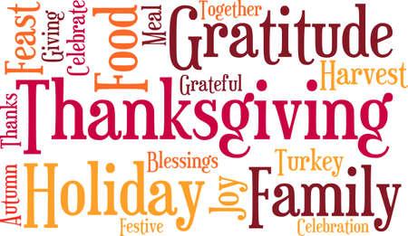 Thanksgiving nuage de mot sur un fond blanc. Banque d'images - 70869692