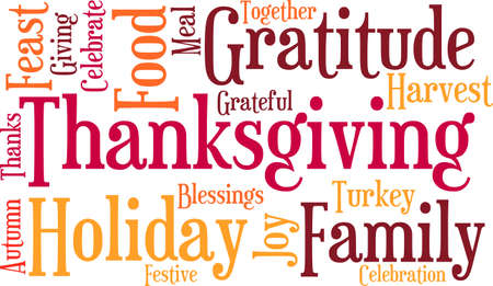 blessings: Thanksgiving word cloud on a white background.