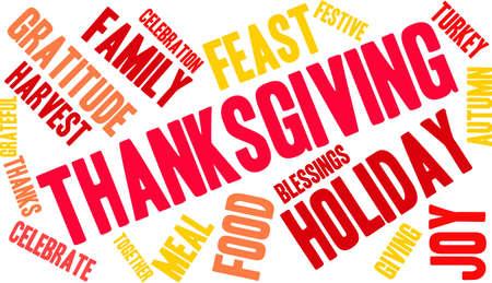 Nuage de mot de Thanksgiving sur fond blanc. Banque d'images - 70869695
