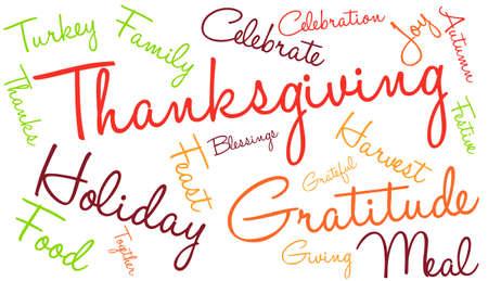 Thanksgiving nuage de mot sur un fond blanc. Banque d'images - 70938443