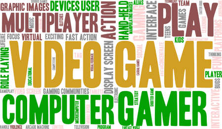 Video Game word cloud on a white background. 向量圖像