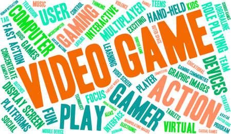 Video Game woord wolk op een witte achtergrond. Stock Illustratie