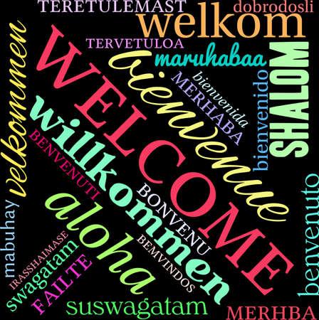 International Welcome Word Cloud on a black background. 版權商用圖片 - 71019303