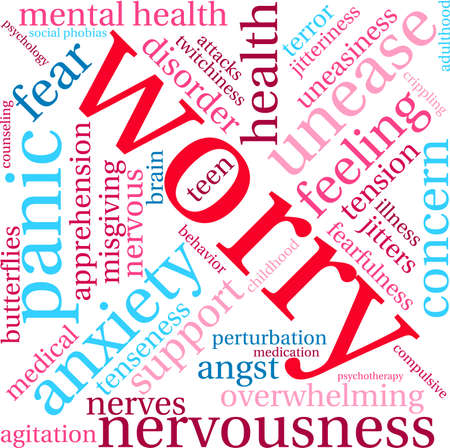 Worry word cloud on a white background. Illustration