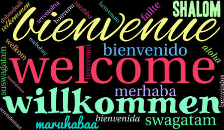 International Welcome Word Cloud on a black background. 版權商用圖片 - 70857684