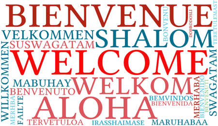 International Welcome Word Cloud. Each word used in this word cloud is another language's version of the word Welcome. 版權商用圖片 - 96253044