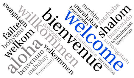 International Welcome Word Cloud. Each word used in this word cloud is another language's version of the word Welcome. 向量圖像
