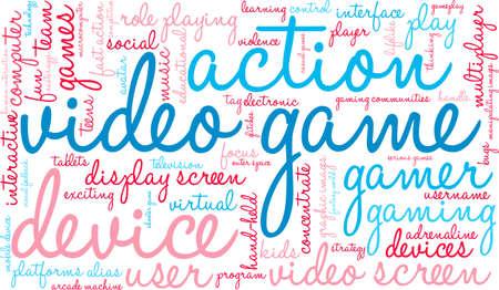 Video Game word cloud on a white background.  イラスト・ベクター素材