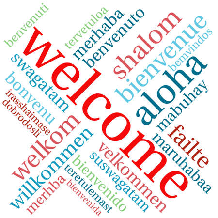 International Welcome Word Cloud. Each word used in this word cloud is another language's version of the word Welcome. Illusztráció