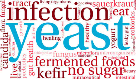 intestinal flora: Yeast Infection word cloud on a white background.