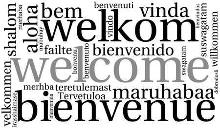 International Welcome Word Cloud. Each word used in this word cloud is another language's version of the word Welcome. Stock Illustratie