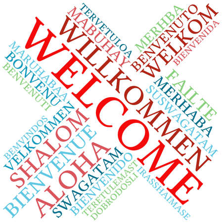 International Welcome Word Cloud. Each word used in this word cloud is another language's version of the word Welcome. Vectores
