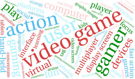Video Game word cloud on a white background. Ilustrace