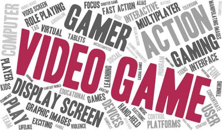 niños jugando videojuegos: Videojuegos nube de palabras sobre un fondo blanco.