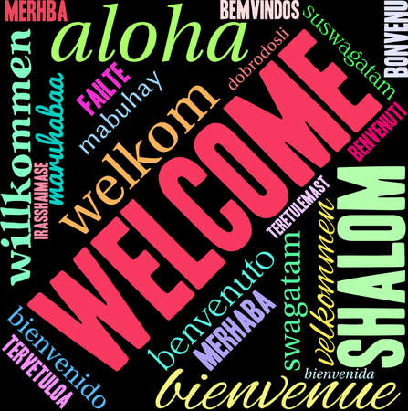 International Welcome Word Cloud on a black background.