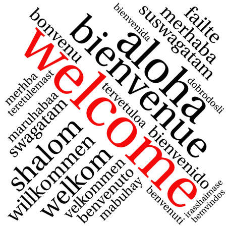 International Welcome Word Cloud. Each word used in this word cloud is another language's version of the word Welcome. Ilustrace