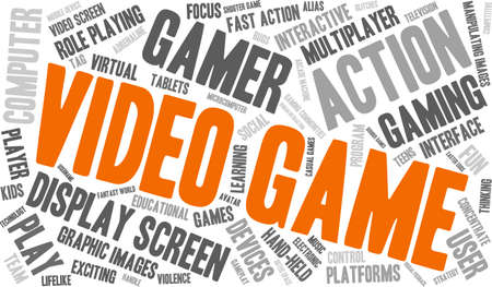role play: Video Game word cloud on a white background. Illustration