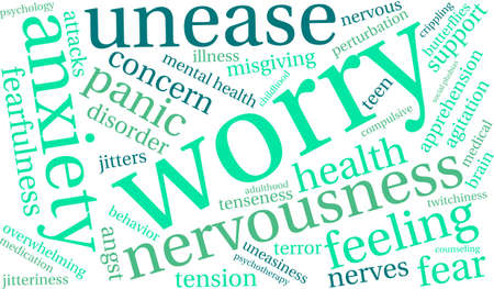 nervousness: Worry word cloud on a white background. Illustration