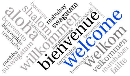 Welkom internationale Word Cloud op een witte achtergrond. Elk woord dat in deze woordwolk wordt gebruikt, is een andere taalversie van het woord Welkom.