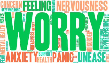 unease: Worry word cloud on a white background. Illustration