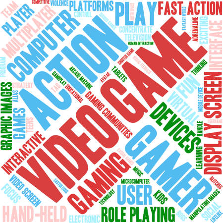 video game: Video Game word cloud on a white background. Illustration