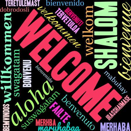 International Welcome Word Cloud on a black background. 版權商用圖片 - 70857579