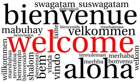 Welcome international Word Cloud On a White Background. Each word used in this word cloud is another language's version of the word Welcome.