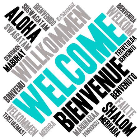 국제 환영 워드 클라우드. 이 단어 구름에 사용 된 각 단어는 Welcome라는 단어의 다른 언어 버전입니다.
