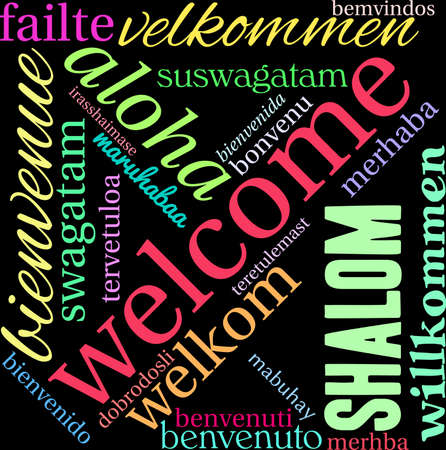 greet: International Welcome Word Cloud on a black background.