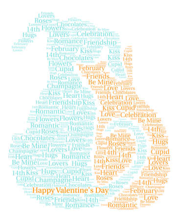 Happy Valentines Day word cloud on a white background. Banco de Imagens - 71423960