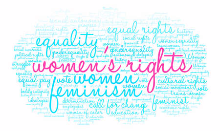 autonomia: Womens Rights word cloud on a white background. Vectores