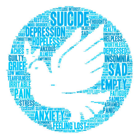 agitation: Suicide word cloud on a white background.