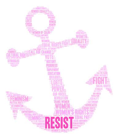 Womens Rights Resist Word Cloud op een witte achtergrond.